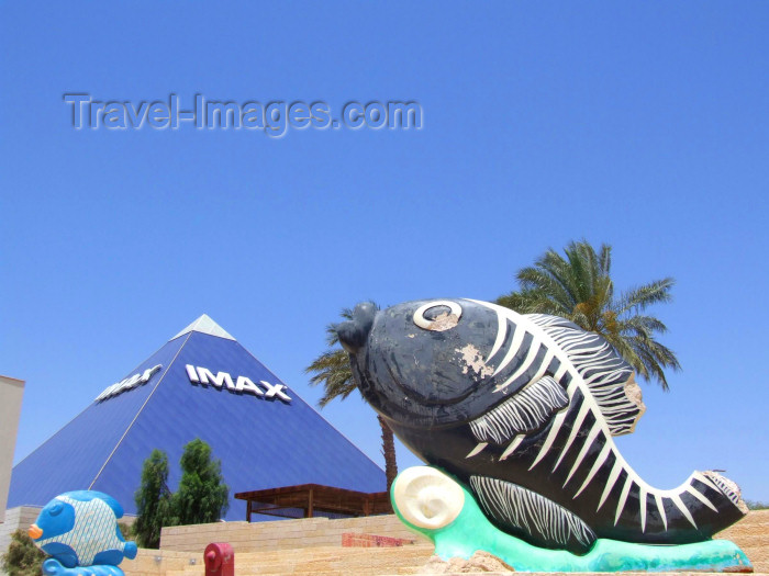 israel178: Israel - Eilat, South district: pyramid - the Imax theater and a nice looking fish - photo by M.Bergsma - (c) Travel-Images.com - Stock Photography agency - Image Bank