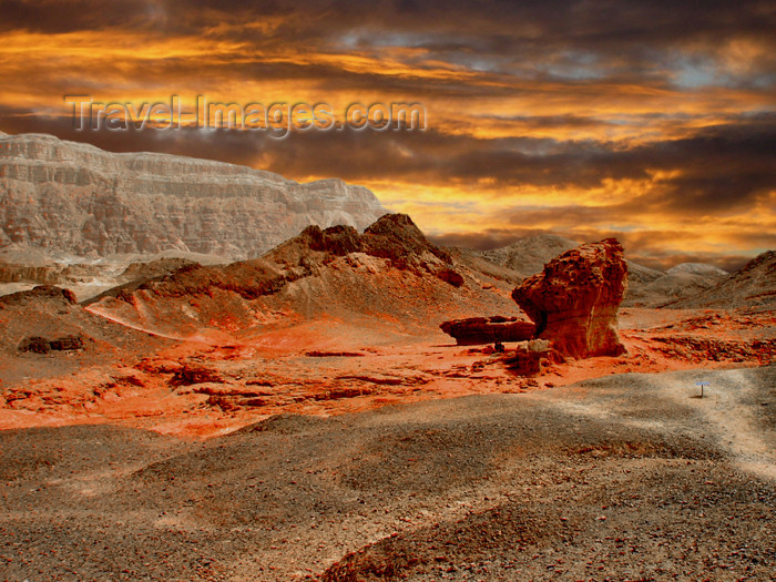 israel190: Israel - Eilat - Timna Valley Park: a storm of red - mushroom shaped red sandstone rock - hoodoo - photo by Efi Keren - (c) Travel-Images.com - Stock Photography agency - Image Bank