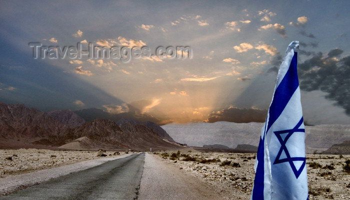 israel226: Israel - Sea of Galilee / Lake Tiberias: hope for the best - Israeli flag - sun rays and Israeli flag - photo by E.Keren - (c) Travel-Images.com - Stock Photography agency - Image Bank
