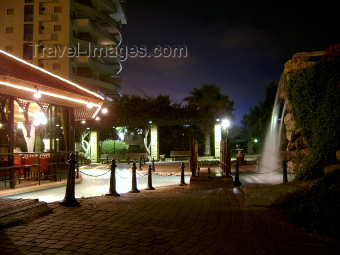 israel268: Israel - Netanya / Natania, Centre District: cafe near waterfall - night - photo by E.Keren - (c) Travel-Images.com - Stock Photography agency - Image Bank