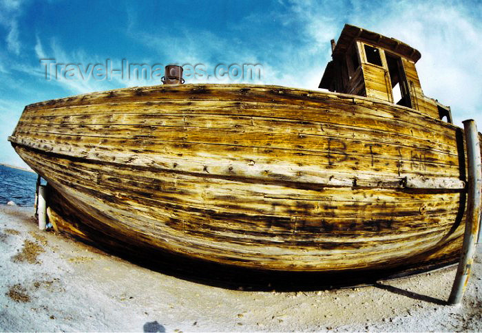 israel28: Israel - Dead sea / Yam Ha-Melah: old wooden ship shot with a fisheye lens - photo by C.Ariav - (c) Travel-Images.com - Stock Photography agency - Image Bank