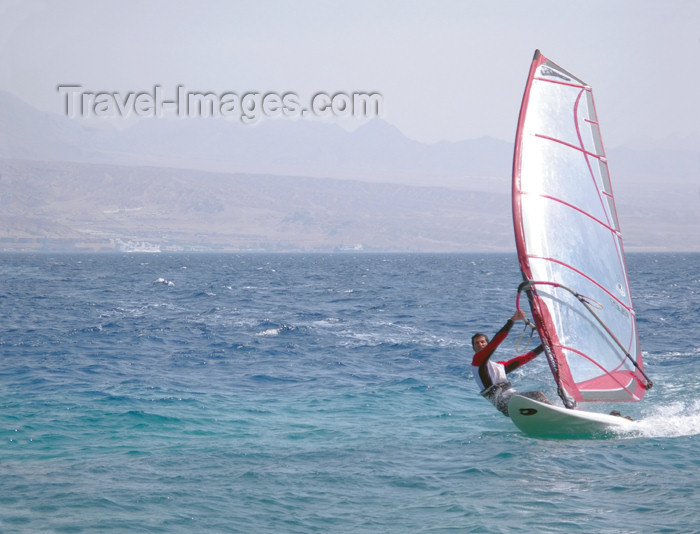 israel310: Eilat, Israel: windsurf - water sport - photo by E.Keren - (c) Travel-Images.com - Stock Photography agency - Image Bank