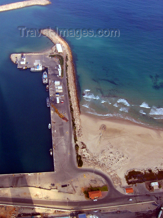 israel311: Israel - Hadera: Orot Rabin power station - pier of the coal terminal - from above - photo by E.Keren - (c) Travel-Images.com - Stock Photography agency - Image Bank