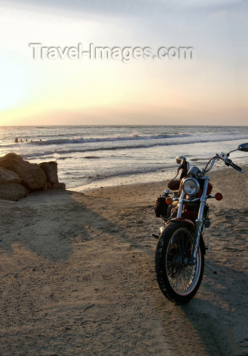 israel323: Israel - kibbutz Sdot Yam - Evening on the Beach - motorbike - photo by E.Keren - (c) Travel-Images.com - Stock Photography agency - Image Bank