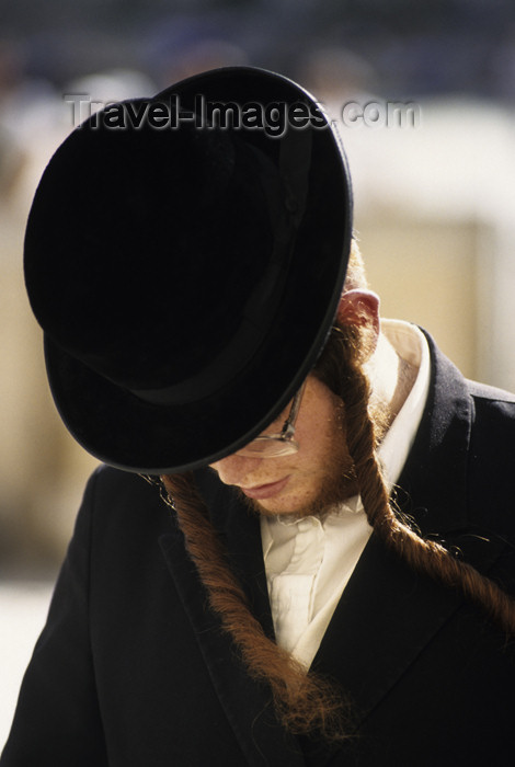 israel339: Israel - Jerusalem - young Orthodox jew with side curls and hat praying - photo by Walter G. Allgöwer - (c) Travel-Images.com - Stock Photography agency - Image Bank