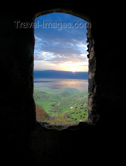 israel354: Golan Heights, Israel: view over the Sea of Galilee / Lake Kinneret / Lake Tiberius, from the ruins of an old house - photo by E.Keren - (c) Travel-Images.com - Stock Photography agency - Image Bank