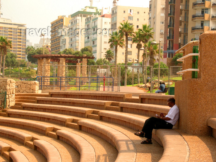 israel359: Netanya, Center district, Israel: black man sitting at the open air theatre - photo by E.Keren - (c) Travel-Images.com - Stock Photography agency - Image Bank
