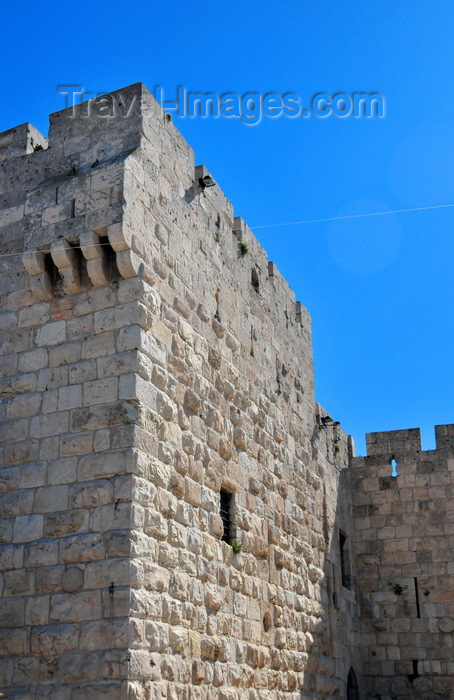 israel416: Jerusalem, Israel: tower by the Jaffa gate, west side of the city walls - photo by M.Torres - (c) Travel-Images.com - Stock Photography agency - Image Bank