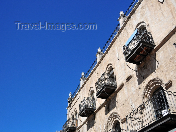 israel418: Jerusalem, Israel: old façade on Omar Ben el-Hatab square - wrought iron balconies - photo by M.Torres - (c) Travel-Images.com - Stock Photography agency - Image Bank