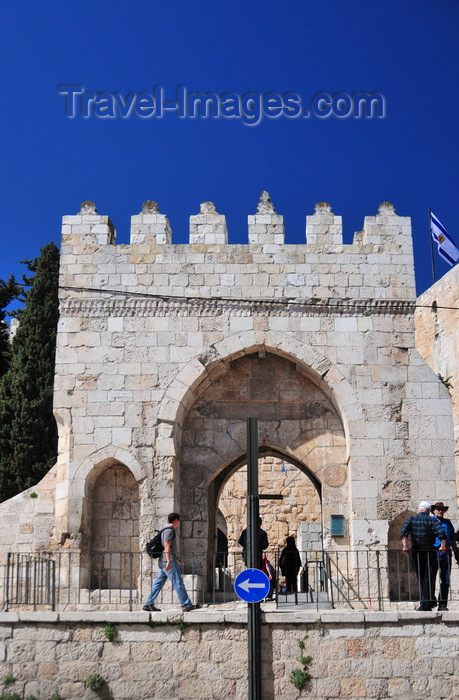 israel419: Jerusalem, Israel: entrance to King David's citadel, a bridge over moat leads to the citadel's gate, niches would house sentries, built by Suleiman the Magnificent - photo by M.Torres - (c) Travel-Images.com - Stock Photography agency - Image Bank