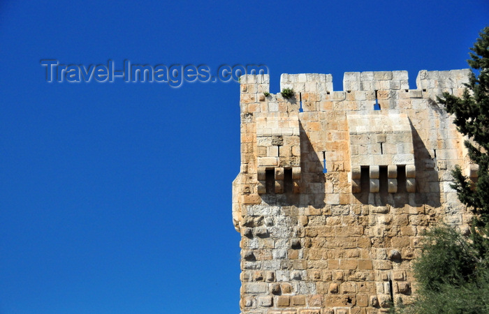 israel421: Jerusalem, Israel: Omar Ben el-Hatab square, south tower at the Citadel's gate - photo by M.Torres - (c) Travel-Images.com - Stock Photography agency - Image Bank