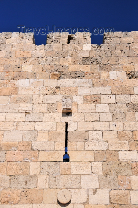israel423: Jerusalem, Israel: west side of the city walls - arrowslit - Six-Day War bullets left pockmarks in the wall - photo by M.Torres - (c) Travel-Images.com - Stock Photography agency - Image Bank