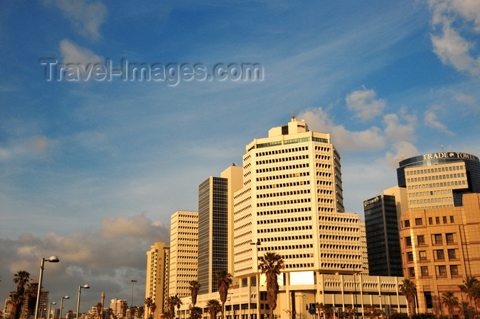 israel43: Tel Aviv, Israel: office buildings and sky - Tel Aviv, boardwalk, Prof. Yehezkel Kaufmann st, corner with Shenkar st - photo by M.Torres - (c) Travel-Images.com - Stock Photography agency - Image Bank
