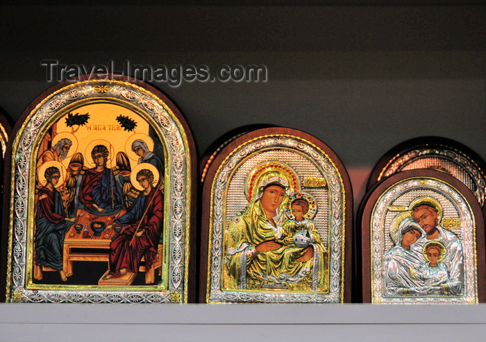 israel431: Jerusalem, Israel: metal framed Christian Orthodox icons for sale at Suq Aftimos - Last Supper; Virgin and Jesus; Mary, Joseph and Jesus - Muristan, Christian quarter - photo by M.Torres - (c) Travel-Images.com - Stock Photography agency - Image Bank