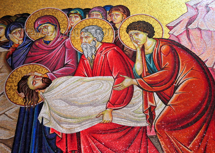 israel443: Jerusalem, Israel: Holy Sepulcher church - mosaic depicting the anointing of Jesus Christ for burial - outside wall of the Catholicon - Christian quarter - photo by M.Torres - (c) Travel-Images.com - Stock Photography agency - Image Bank