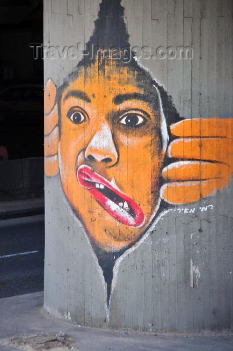 israel45: Tel Aviv, Israel:  face with twisted mouth - graffiti on Eliezer Peri Street, below Colosseum Nightclub - photo by M.Torres - (c) Travel-Images.com - Stock Photography agency - Image Bank