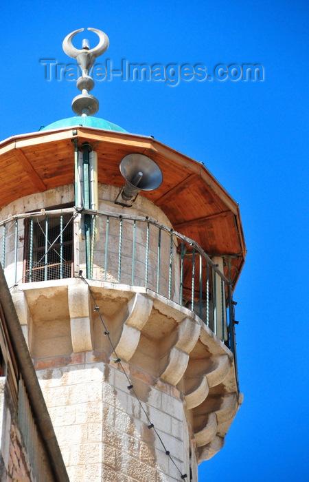 israel480: Jerusalem, Israel: minaret of the Darghat mosque, near El-Wad road, 3rd station, Via Dolorosa - balconyon corbels- loudspeaker and crescent - Muslim Quarter - photo by M.Torres - (c) Travel-Images.com - Stock Photography agency - Image Bank
