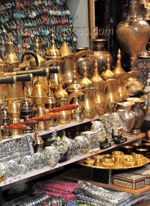 israel481: Jerusalem, Israel: shop display - arabian tea pots, metal vases, nacre boxes and assorted souvenirs - Muslim Quarter - photo by M.Torres - (c) Travel-Images.com - Stock Photography agency - Image Bank