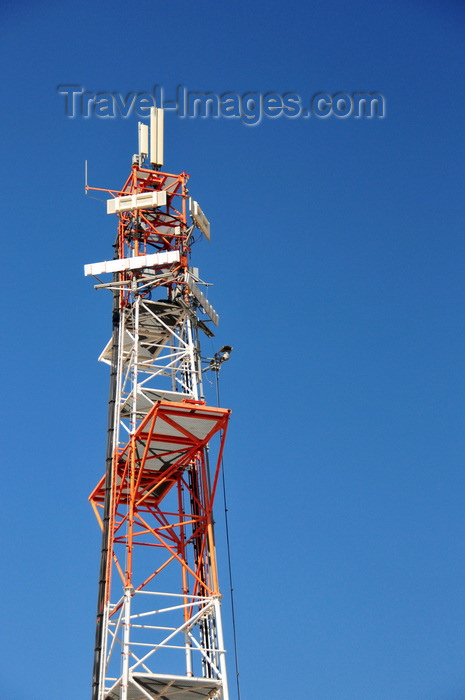israel492: Jerusalem, Israel: tall communications antenna at Rachel's Tomb Crossing Checkpoint - red and white steell truss structure - photo by M.Torres - (c) Travel-Images.com - Stock Photography agency - Image Bank