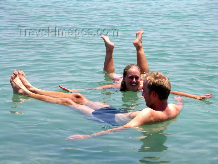 israel71: Israel - Dead sea: couple floating - buoyancy caused by high salinity - photo by R.Wallace - (c) Travel-Images.com - Stock Photography agency - Image Bank