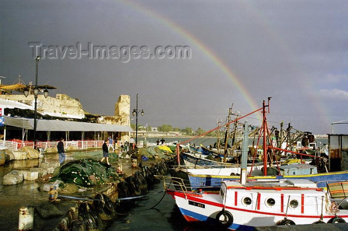 israel91: Israel - Akko / Acre: boats and rainbow - harbour - photo by J.Kaman - (c) Travel-Images.com - Stock Photography agency - Image Bank