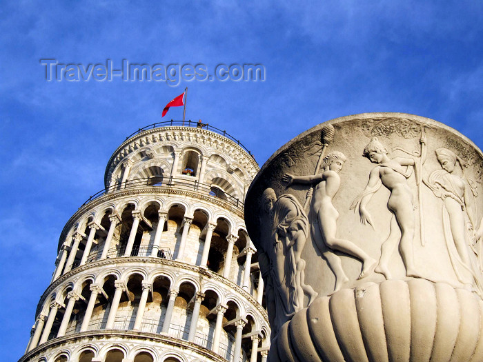 italy132: Italy / Italia - Pisa: classical vase and the tower (photo by M.Bergsma) - (c) Travel-Images.com - Stock Photography agency - Image Bank