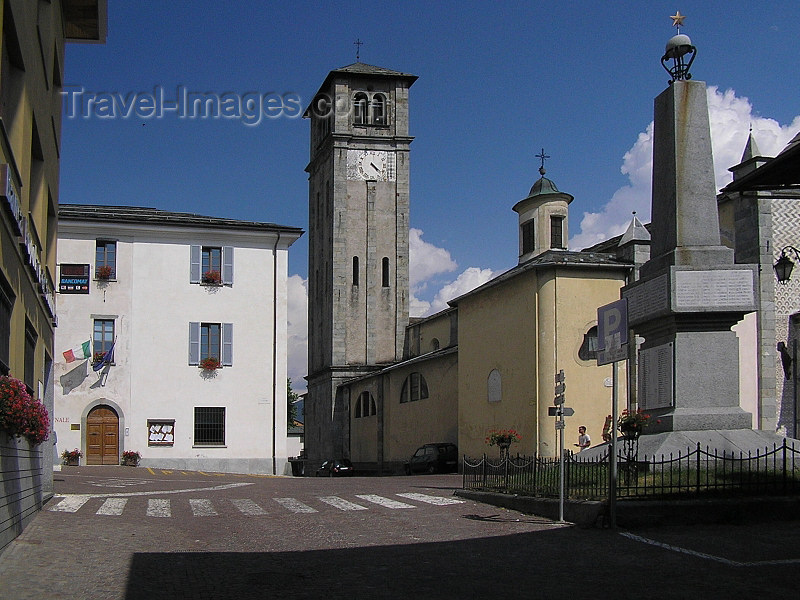 italy344: Italy - Teglio, Sondrio province, Lombardy: obelisk and church tower - photo by J.Kaman - (c) Travel-Images.com - Stock Photography agency - Image Bank
