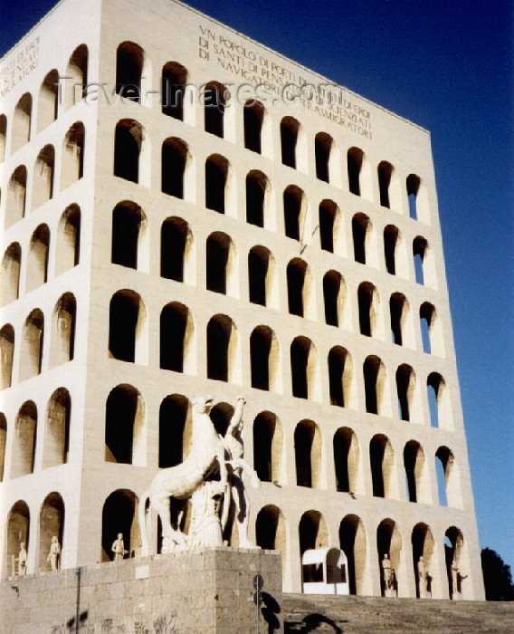 italy35: Italy / Italia - Rome: Mussolini's Square Coliseum / Colosseo Quadrato - Palazzo della Civiltà del Lavoro (at EUR - Esposizione Universale Roma) - Fascist architecture - designed by Giovanni Guerrini - photo by M.Torres - (c) Travel-Images.com - Stock Photography agency - Image Bank