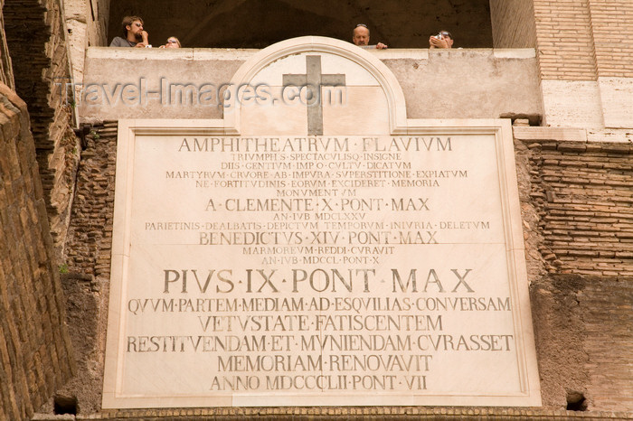 italy361: Rome, Italy: Colosseum - pope Pius IX left his mark - photo by I.Middleton - (c) Travel-Images.com - Stock Photography agency - Image Bank