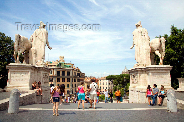 italy368: Rome, Italy: Castor and Pollux - view from Piazza Campidoglio - photo by I.Middleton - (c) Travel-Images.com - Stock Photography agency - Image Bank