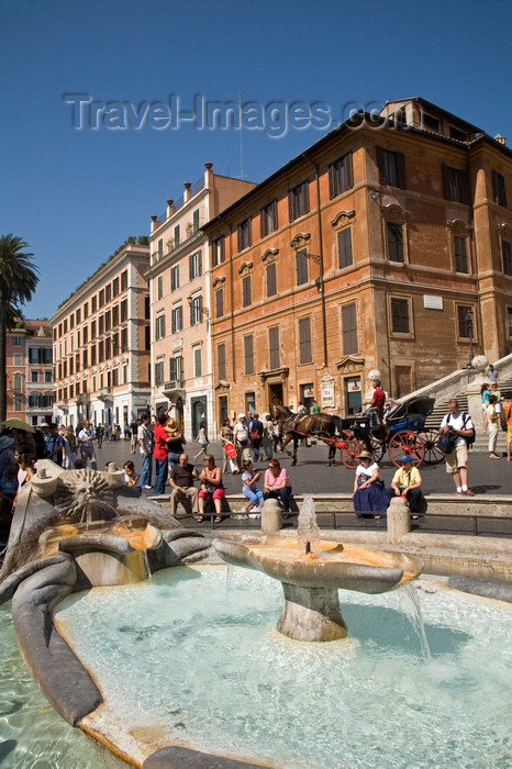 italy373: Rome, Italy: Barcaccia Fountain in Piazza di Spagna  - by Pietro Bernini and his son Gian Lorenzo Bernini - photo by I.Middleton - (c) Travel-Images.com - Stock Photography agency - Image Bank