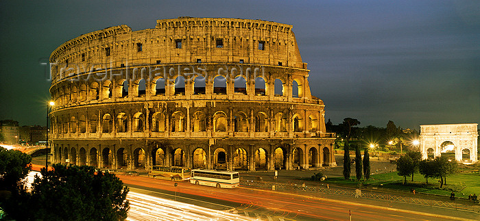 italy430: Italy - Rome, Lazio: Colosseum and Via dei Fori Imeriali at night - photo by W.Allgower - (c) Travel-Images.com - Stock Photography agency - Image Bank