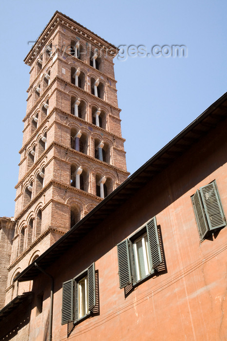 italy434: Rome, Italy: belfry of Santa Maria in Via in Piazza San Silvestro - photo by I.Middleton - (c) Travel-Images.com - Stock Photography agency - Image Bank