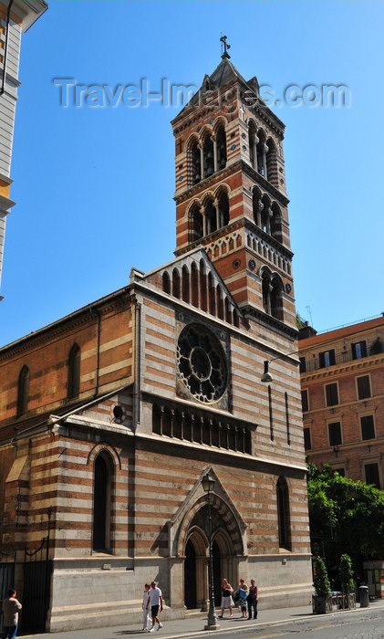 italy444: Rome, Italy: St. Paul Within the Walls Episcopal Church - Anglican communion - American Episcopal Church - inspired by San Zeno in Verona - façade with coloured bricks from Siena and travertine from Tivoli - corner of Via Nazionale and Via Napoli - San Paolo Entro le Mura - photo by M.Torres - (c) Travel-Images.com - Stock Photography agency - Image Bank