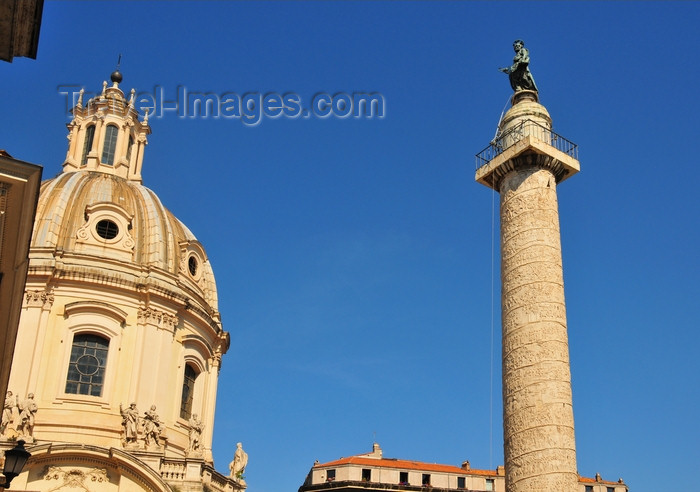 italy456: Rome, Italy: Chiesa del Santissimo Nome di Maria al Foro Traiano and Trajan Column - Piazza di colonna Traiana - photo by M.Torres - (c) Travel-Images.com - Stock Photography agency - Image Bank