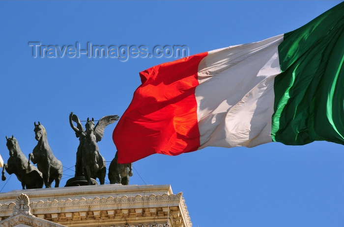 italy459: Rome, Italy: Italian flag and Quadriga dell'Unità - Monument of Vittorio Emanuele II - The Vittoriano - photo by M.Torres - (c) Travel-Images.com - Stock Photography agency - Image Bank