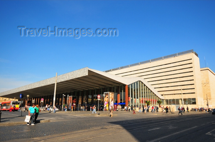 italy477: Rome, Italy: Roma Termini railway station - modernist façade in travertine and cantilever roof - photo by M.Torres - (c) Travel-Images.com - Stock Photography agency - Image Bank