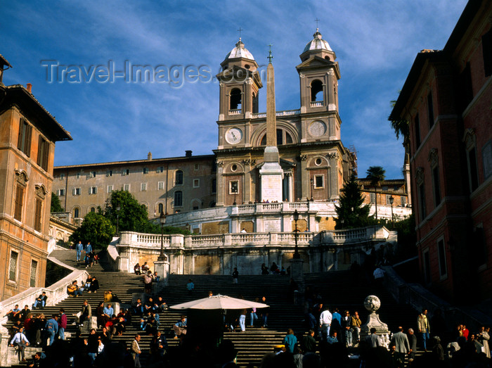 italy483: Rome, Italy: Spanish steps - designed by Francesco de Sanctis - Scalinata della Trinità dei Monti - photo by J.Fekete - (c) Travel-Images.com - Stock Photography agency - Image Bank