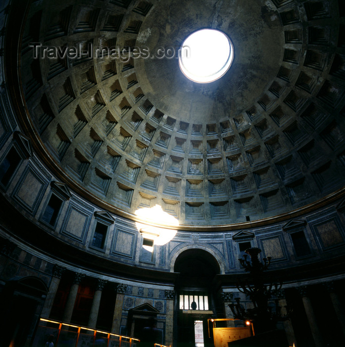italy490: Rome, Italy: Pantheon - coffered concrete dome built in 118 AD - ray of light through the oculus  - photo by J.Fekete - (c) Travel-Images.com - Stock Photography agency - Image Bank