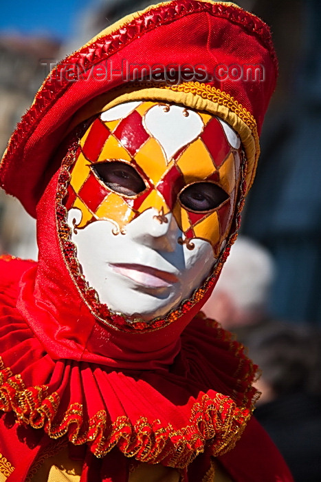 italy493: Carnival costumes, Carnival participant, Red costume & Mask, Venicve - photo by A.Beaton - (c) Travel-Images.com - Stock Photography agency - Image Bank