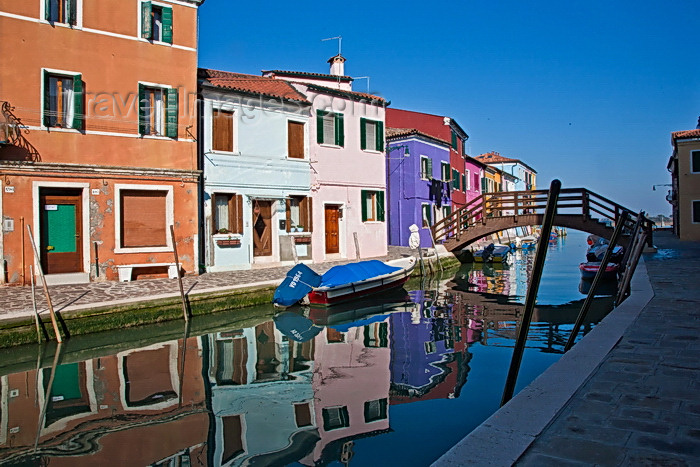 italy505: Burano, Colourful Painted Houses,, Reflections, Venice - photo by A.Beaton - (c) Travel-Images.com - Stock Photography agency - Image Bank
