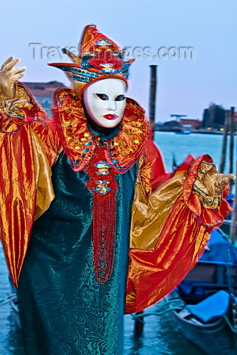 italy527: Carnival participant with Carnival costume at Dawn by Canale di San Marco, Venice - photo by A.Beaton - (c) Travel-Images.com - Stock Photography agency - Image Bank