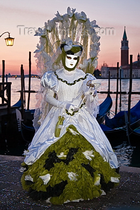 italy531: Carnival participant with Carnival costume at Dawn by Canale di San Marco, Venice - photo by A.Beaton - (c) Travel-Images.com - Stock Photography agency - Image Bank
