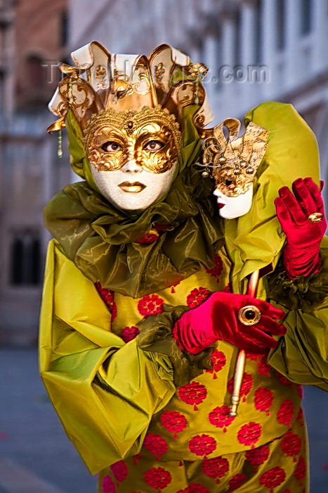 italy534: Carnival participant with Carnival costume in Piazza San Marco, Venice - photo by A.Beaton - (c) Travel-Images.com - Stock Photography agency - Image Bank