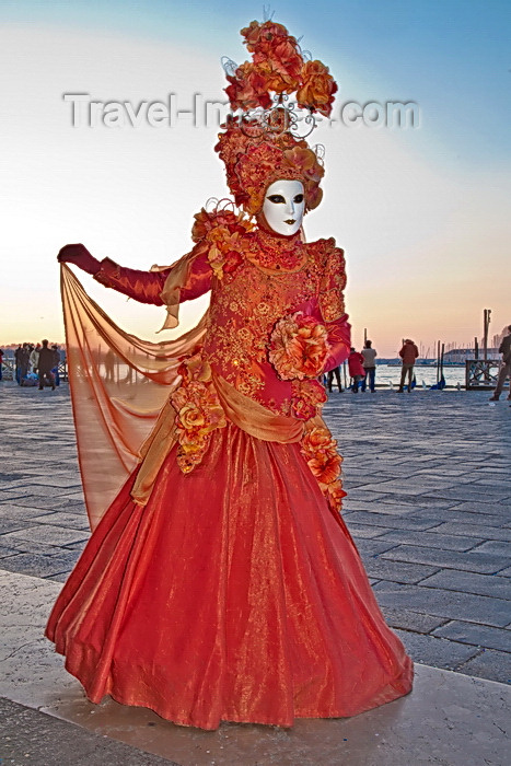 italy535: Carnival participant with Carnival costume at Dawn by Canale di San Marco, Venice - photo by A.Beaton - (c) Travel-Images.com - Stock Photography agency - Image Bank