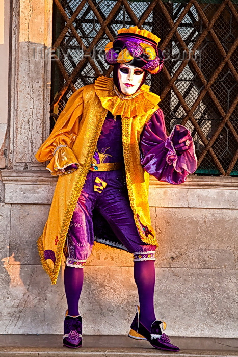 italy540: Carnival participant with Carnival costume in Piazza San Marco, Venice - photo by A.Beaton - (c) Travel-Images.com - Stock Photography agency - Image Bank