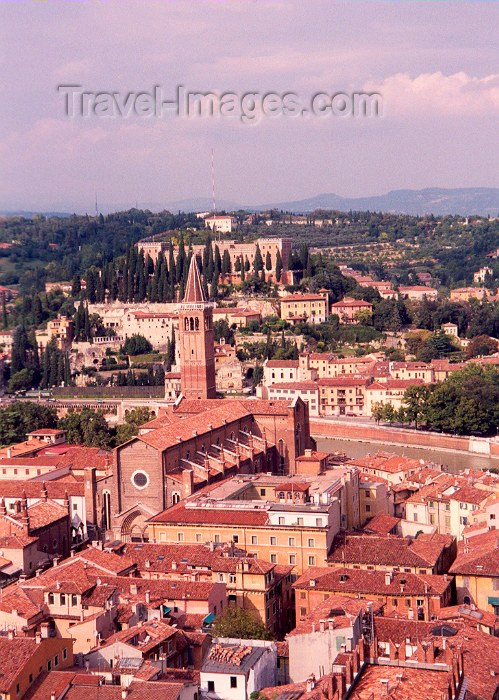 italy70: Verona  - Venetia / Veneto, Italy / VRN : roof tops and church by the Adige river - fiume Adige - photo by M.Torres - (c) Travel-Images.com - Stock Photography agency - Image Bank