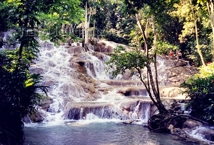 jamaica2: Jamaica: waterfall - Dunns River Falls (photo by Miguel Torres) - (c) Travel-Images.com - Stock Photography agency - Image Bank