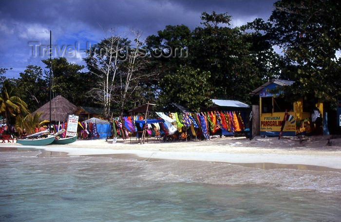 jamaica30: Jamaica - Negril: sarong shop - pareos on the beach - photo by T.Brown - (c) Travel-Images.com - Stock Photography agency - Image Bank
