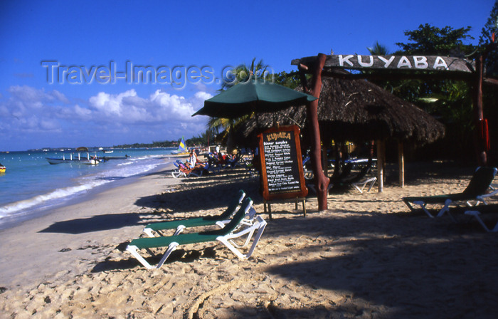 jamaica42: Jamaica - Negril: beach-side restaurant - menu at Kuyaba - photo by T.Brown - (c) Travel-Images.com - Stock Photography agency - Image Bank